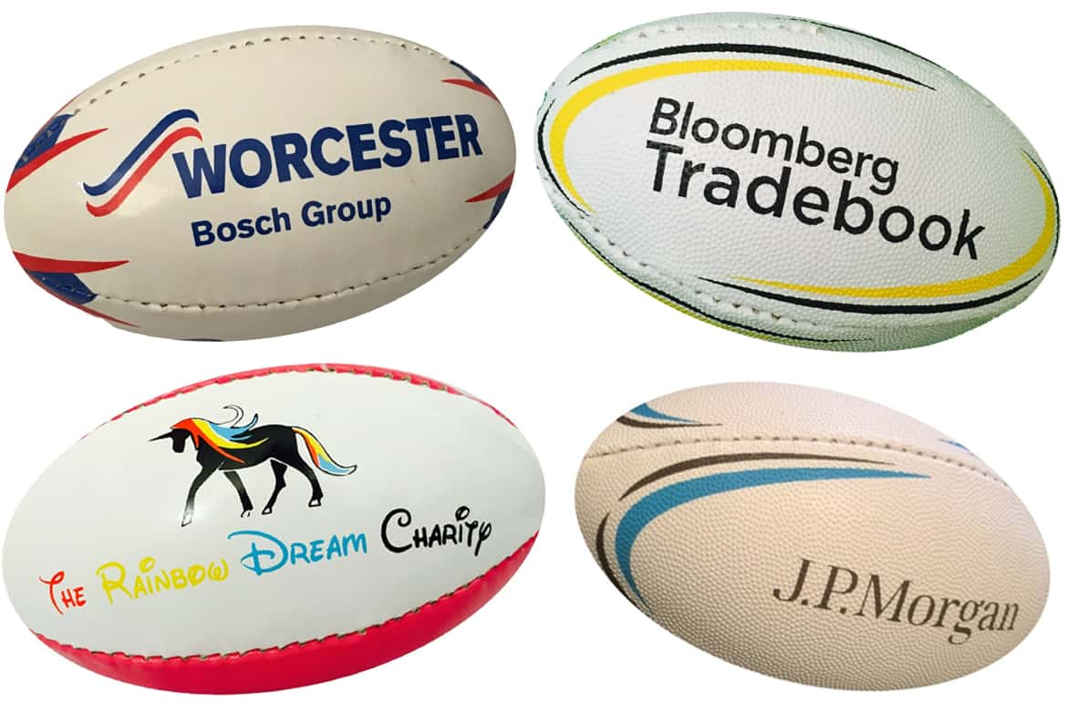 branded mini rugby balls