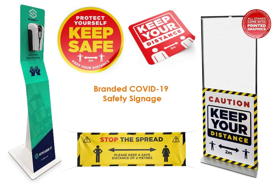 branded covid-19 safety signage
